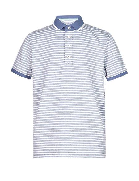 Pure Cotton Birdseye Striped Polo Shirt