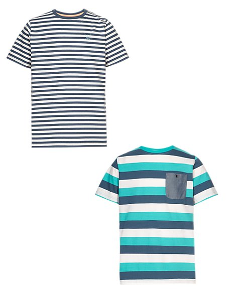 2 Pack Pure Cotton Striped T-Shirts