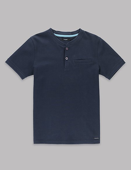 Cotton Smart Granddad Collar T-Shirt with Stretch (5-14 Years)