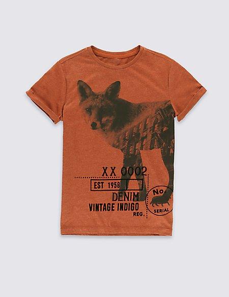 Cotton Blend Short Sleeve T-Shirt (5-14 Years)
