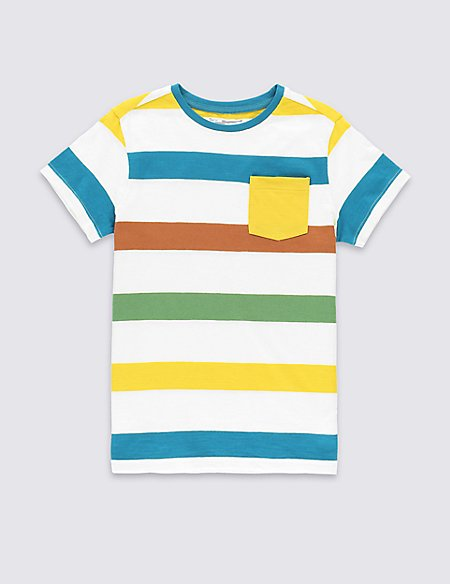Pure Cotton Striped T-Shirt (5-14 Years)
