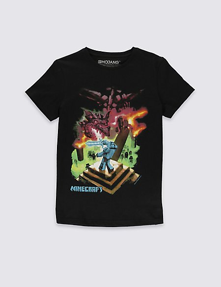 Pure Cotton Minecraft Ender Dragon T-Shirt (5-14 Years)