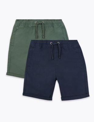 2 Pack Cotton Ripstop Shorts (6-16 Yrs)