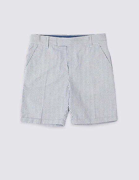 Pure Cotton Seersucker Shorts (3-16 Years)