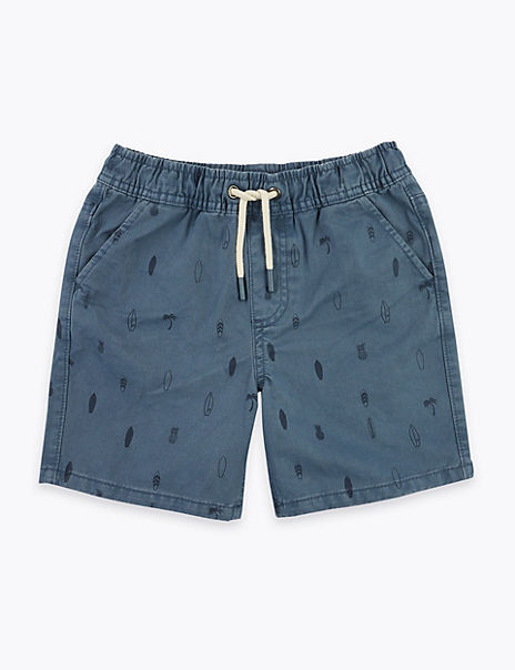Pure Cotton Surfboard Print Shorts (6-16 Years)