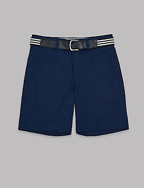 Pure Cotton Shorts with Belt (3-16 Years)