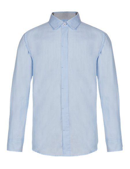 Pure Cotton Herringbone Shirt (5-14 Years)