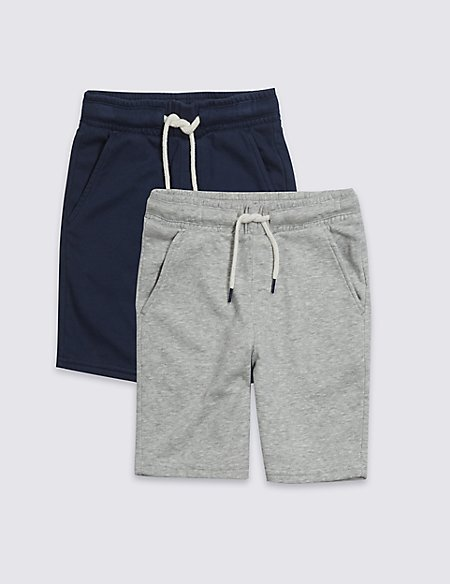 2 Pack Cotton Rich Jersey Shorts (3-16 Years)