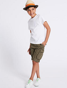 Pure Cotton Cargo Shorts (3-16 Years)