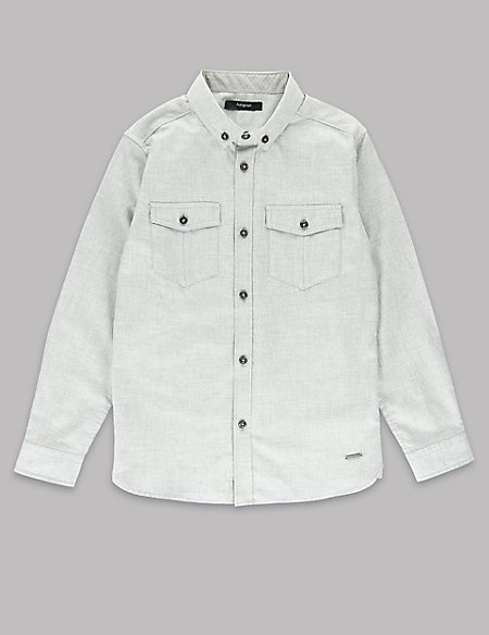 Pure Cotton Textured Shirt (5-14 Years)