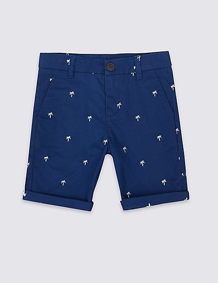 Cotton Embroidered Shorts with Stretch (3-16 Years)