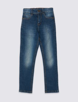 Plus Cotton Rich Straight Leg Jeans (3 16 Years) by Marks & Spencer