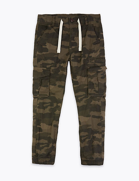 Cotton Camouflage Print Cargo Trousers (6-16 Years)