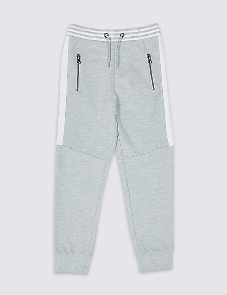 Cotton Rich Side Stripe Joggers (3-16 Years)