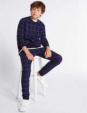 Cotton Rich Grid Joggers (3-16 Years)