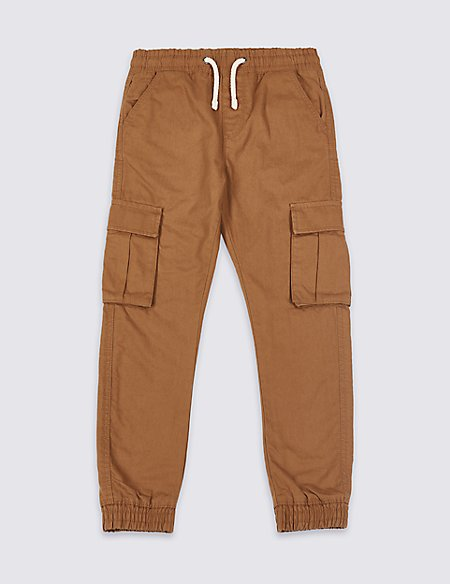 Pure Cotton Cargo Trousers (3-16 Years)