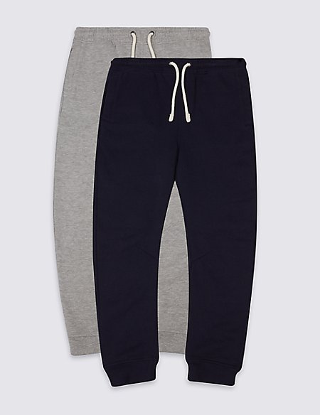 2 Pack Cotton Rich Joggers (3-14 Years)