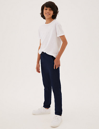 NEW BOYS PLUS FIT CHINOS TROUSERS BLUE MARKS /& SPENCER 7-8 12-13 YEARS