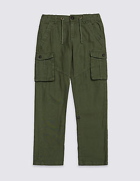 Linen Rich Cargo Trousers (3-16 Years)