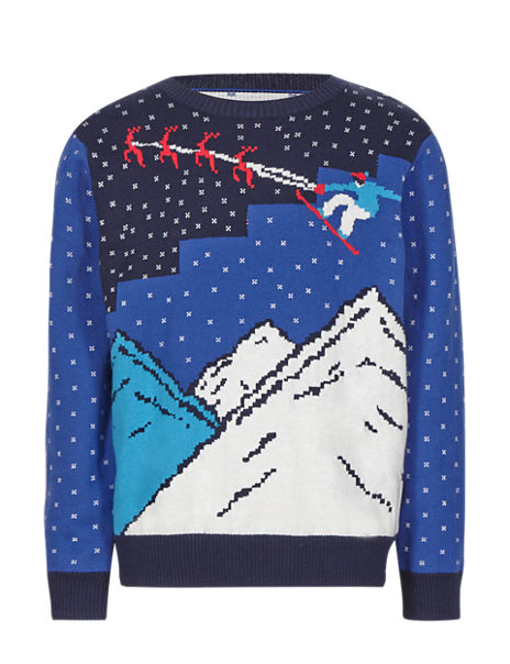 Christmas Scene Jumper with Wool