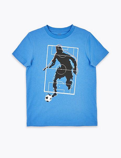 Pure Cotton Football Print T-Shirt (6-16 Years)