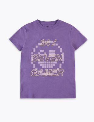 Pure Cotton Gamer Slogan T-Shirt (6-16 Years)