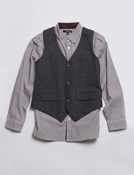 2 Piece Waistcoat & Checked Shirt Outfit (5-14 Years)