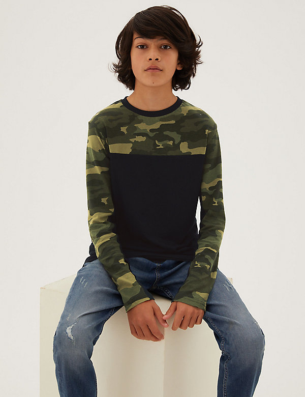 Pure Cotton Camouflage Top (6-16 Yrs)