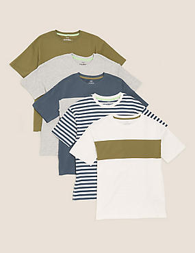 5pk Cotton Striped & Plain T-Shirts (6-16 Yrs)