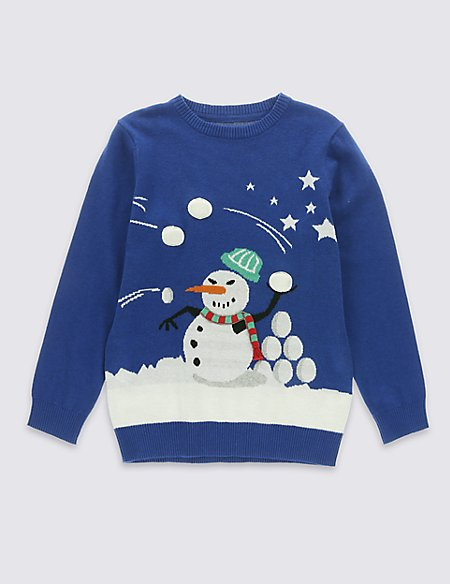 Light Up Pure Cotton Snowball Fight Christmas Jumper (5-14 Years)