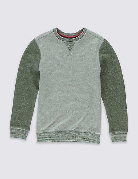 Colour Block Textured Sweatshirt (5-14 Years)
