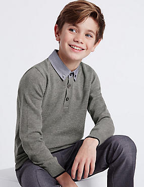 Pure Cotton Mock Shirt Jumper (3-14 Years)