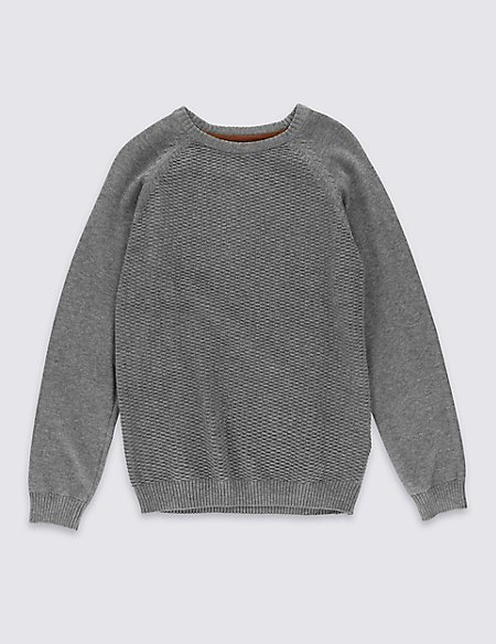 Pure Cotton Crew Neck Jumper (5-14 Years)