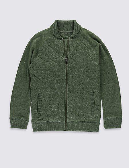 Cotton Blend Military Baseball Jacket (5-14 Years)