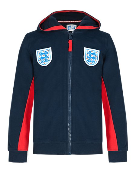 Pure Cotton Umbro 3 Lions Hooded Sweat Top (5-14 Years)