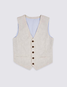 Linen Rich Textured Waistcoat (3-16 Years)