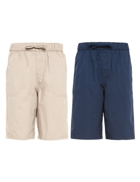 2 Pack Pure Cotton Drawstring Shorts (5-14 Years)