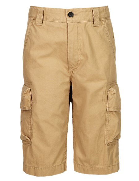 Pure Cotton Cargo Shorts (5-14 Years)