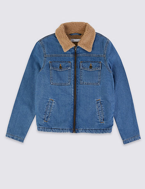 Pure Cotton Borg Collar Denim Jacket (3-16 Years)