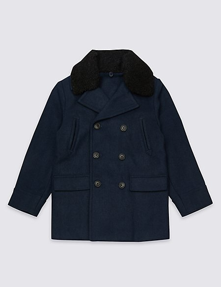 Pea Coat with Wool (3-16 Years)