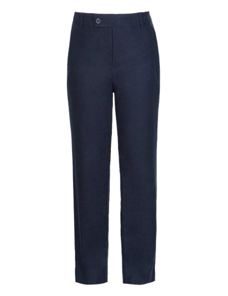Linen Blend Adjustable Waist Trousers (5-14 Years)