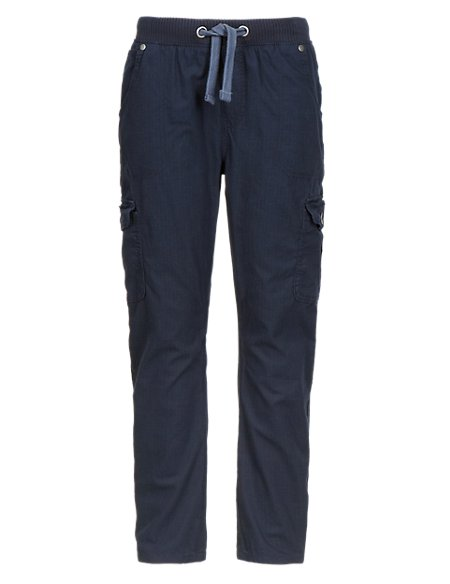 Pure Cotton Ribbed Waistband Cargo Trousers (5-14 Years)