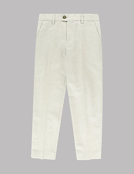 Flat Front Trousers with Linen (5-14 Years)