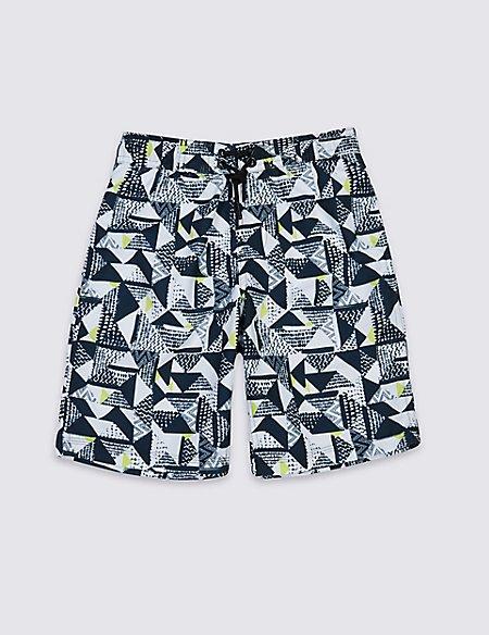 Geometric Print Swim Shorts (3-14 Years)