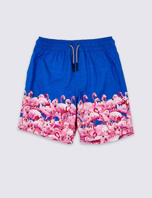 4f0fdc284f597 Sustainable Flamingo Print Swim Shorts (3-16 Years)