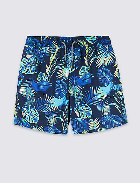 Sustainable Neon Leaf Print Swim Shorts (3-16 Years)