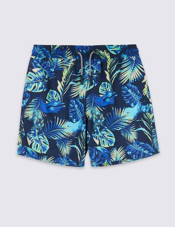 41ea9ff06f Sustainable Neon Leaf Print Swim Shorts (3-16 Years)
