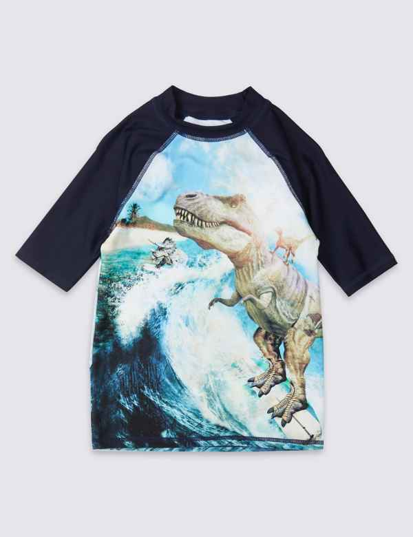 e6cf73b146de4 Sustainable Dinosaur Print Rash Vest (3-16 Years)