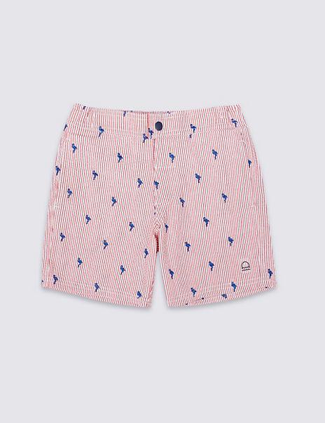 Flamingo Seersucker Swim Shorts (3-16 Years)