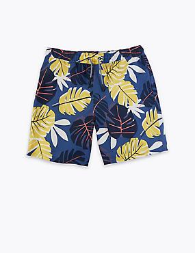Leaf Design Swim Shorts (6-16 Yrs)